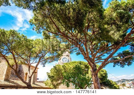 Park near Castre museum with bell tower of the church in Cannes in France