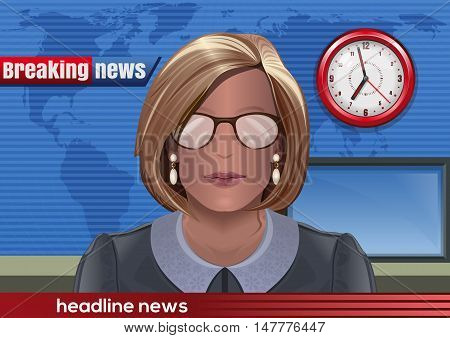Breaking news. Silhouette of a woman with glasses. News announcer in the studio