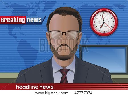 Breaking news. Silhouette of a bearded man with glasses. News announcer in the studio