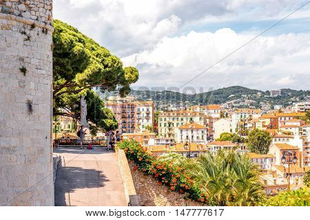 Cannes, France - June 14, 2016: Cannes cityscape view on the square near Castre museum on the french riviera.