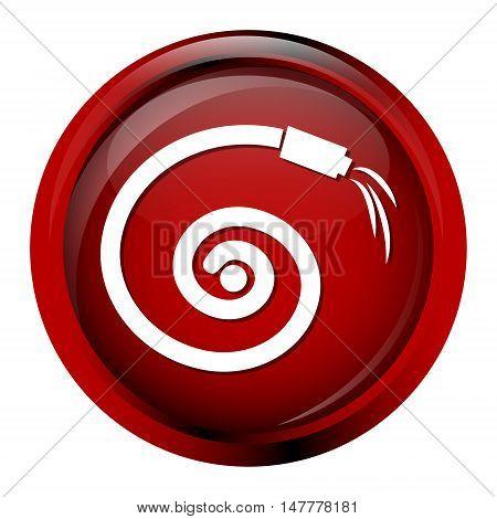 Hose icon garden hose icon, red button vector illustration
