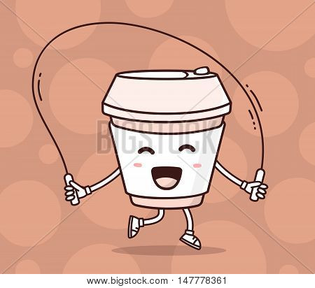 Vector Illustration Of Color Smile Takeaway Coffee Cup With Skipping Rope On Brown Background. Fitne