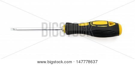 slotted screw driver on a white background