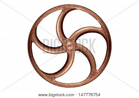 old steel wheel or flywheel isolated on white background