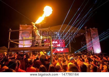 BUDVA- JULY 18 : CROWD IN FRONT OF THE DANCE PARADISO STAGE AT SEA DANCE FESTIVAL 2015 MUSIC FESTIVAL JULY 18 2015 IN BUDVA JAZ BEACH MONTENEGRO