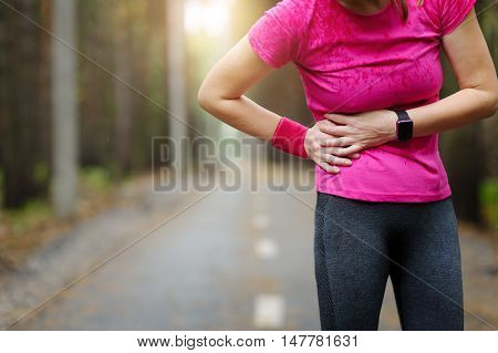 Side Stitch - Woman Runner Side Cramps.