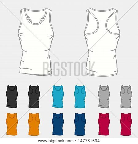 Set of colored singlets templates for men.