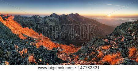 Slovakia mountain sunrise panorama at summer Slavkovsky stit.