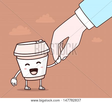 Vector illustration of color smile takeaway coffee cup and human hand on brown background. Creative cartoon coffee concept. Doodle style. Thin line art flat design of character coffee cup