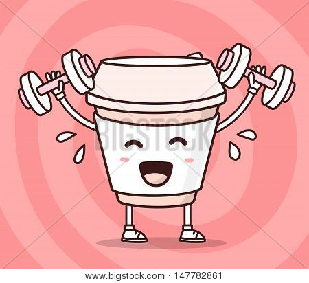 Vector illustration of color smile take away coffee cup lifts dumbbells on red background. Fitness cartoon concept. Doodle style. Thin line art flat design of character coffee cup for sport lose weight fitness theme poster