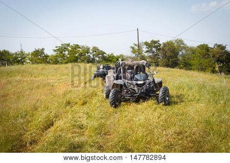 4wd buggy car for extreme off-road shot on steppe