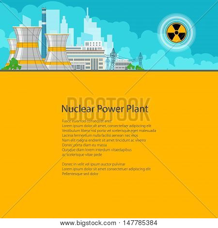 Nuclear Power Plant on the Background of the City , Thermal Power Station, Electric Power Transmission from a Nuclear Power Plant, Poster Brochure Flyer Design, Text on Yellow Background
