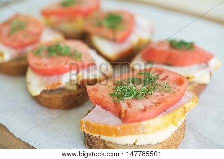 Sandwiches On Table
