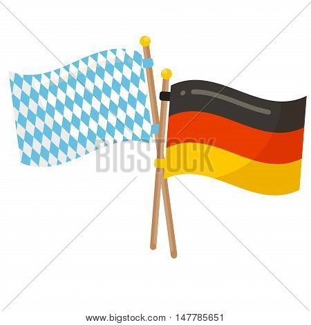 Germany and Bavaria flags icon. Oktoberfest flags germany bavaria white and blue symbol country banner. Color pattern textile design Oktoberfest flags waving national germany bavaria sign