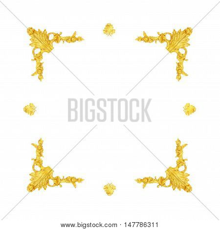 old antique gold frame Stucco walls greek culture roman vintage style pattern line design for border isolated on white background