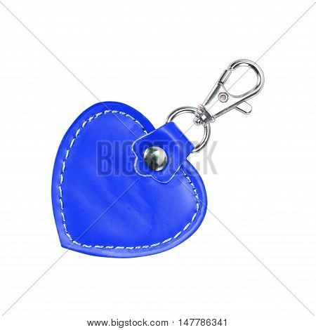 Leather Round Keychain with clip lock for Key Isolated on white background