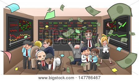 Cartoon illustration of businesspeople broker and investor in stock market with money flying with wealth and lost from investment create by vector