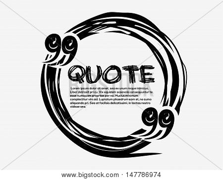 Drawn quotes and a frame. Drawn quote blank template. Empty template. Drawn circle business card template. Hand drawn scribble shape. Vector quote form