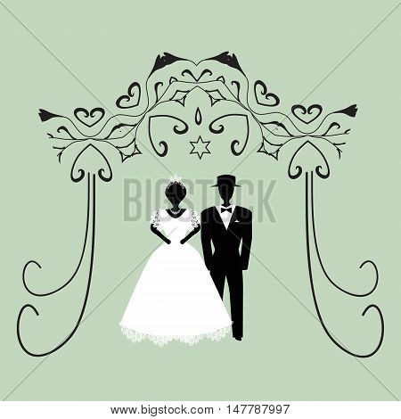 Vintage graphic Chuppah. Religious Jewish wedding canopy for. Bride and groom. Flat. Vector illustration on isolated background.