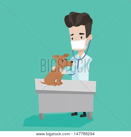 Young male veterinarian examining dog in hospital. Veterinarian checking heartbeat of a dog with stetoscope. Concept of medicine and pet care. Vector flat design illustration. Square layout.