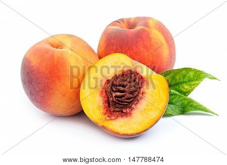 Sweet peach with leaves on a white background