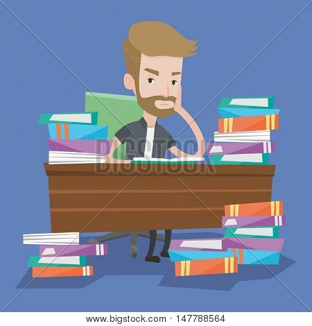 Student sitting at the table with piles of books. Young overworked man studying. Sad student having too much to read. Tired student having a lot to do. Vector flat design illustration. Square layout