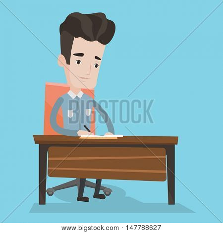 Young journalist sitting at the table and writing in notebook with pencil. Journalist writing notes with pencil. Caucasian man working at the table. Vector flat design illustration. Square layout.