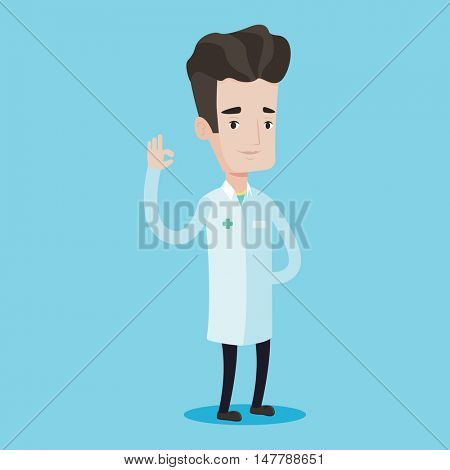 Doctor in medical gown showing ok sign. Smiling doctor gesturing ok sign. Young caucasian doctor with ok sign gesture. Vector flat design illustration isolated on blue background. Square layout.
