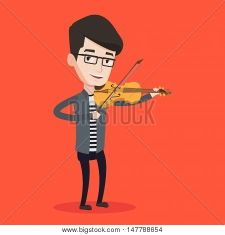Young smiling man playing violin. Violinist playing classical music on violin. Caucasian man with violin standing on a red background. Vector flat design illustration. Square layout.