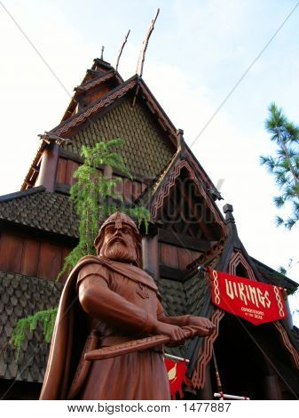 Viking Statue In Front Of Norweigian House