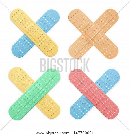 Aid Band Plaster Strip Medical Patch Color Cross Set. Vector illustration