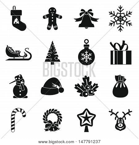 Christmas icons set in simple style. Xmas elements set collection vector illustration