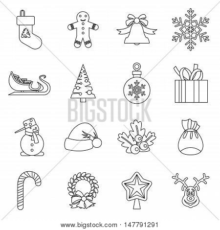 Christmas icons set in outlline style. Xmas elements set collection vector illustration