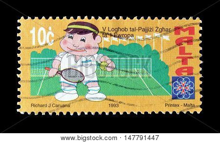 MALTA - CIRCA 1993 : Cancelled postage stamp printed by Malta, that shows Tennis player.