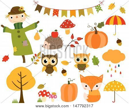 Vector Set of Autumn Elements and Woodland Animals