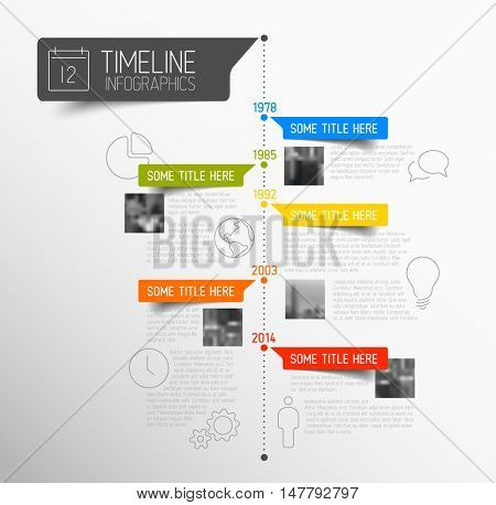 Vector Infographic timeline report template with icons, labels and photos
