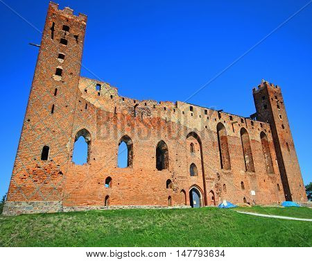 Castle of the Teutonic Knights in Radzyn Chelminski built in the 13th century in Poland