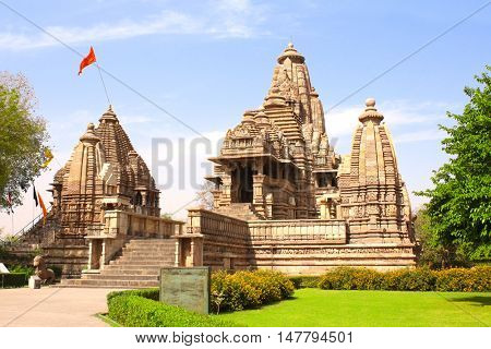Lakshmana temple, built by Chandela Rajputs, is situated in the Western Group of temples, Khajuraho complex, Madhya Pradesh, India. Unesco World Heritage Site