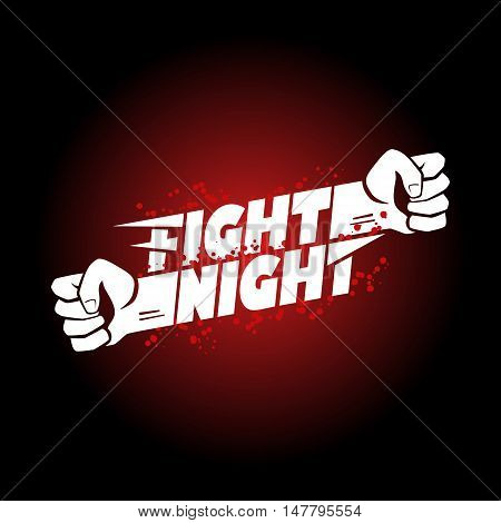 Fight night mma wrestling fist boxing championship for the belt event poster logo template with lettering.