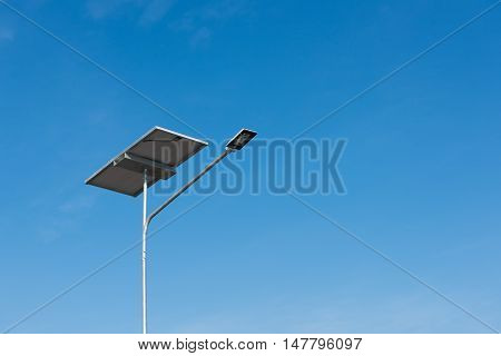 Solar panel and luminaire of lighting pole.