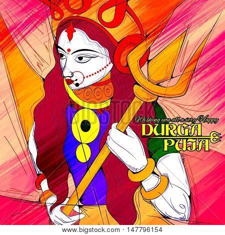 illustration of goddess Durga in Subho Bijoya (Happy Dussehra) background with Durga Puja greetings
