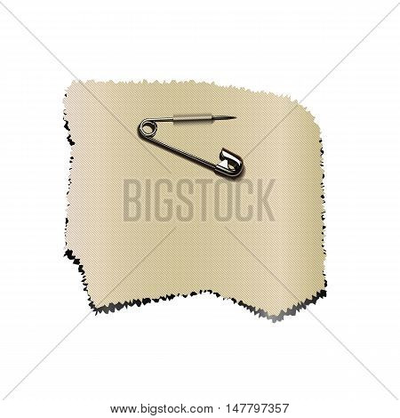sticker pinned open safety pin vector illustration