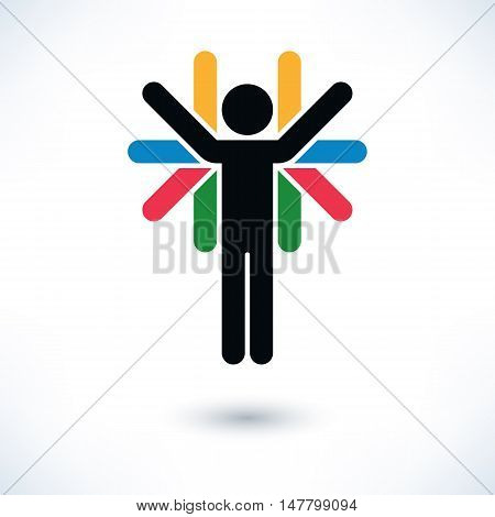Logotype people color man figure with many hands in flat style. Simple silhouette sign with gray shadow isolated on white background. Graphic design elements in vector illustration 8 eps