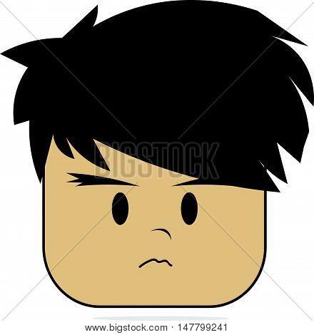 Simple and Flat Cartoon Grumpy Boy Face