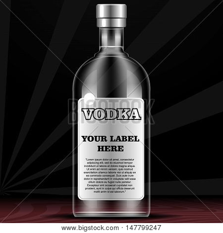 Vector vodka bottle mockup with your label here text. Silver bottle with cap over black background