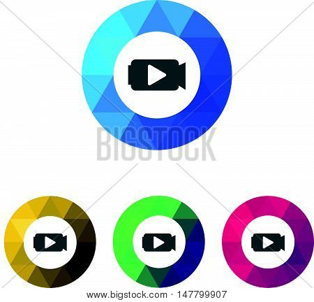Modern Low Poly Ring Camera Video Icon