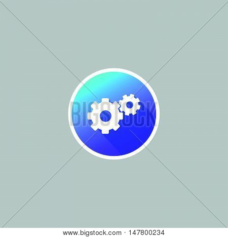 Modern Gear or Setting Icon with Long Shadow