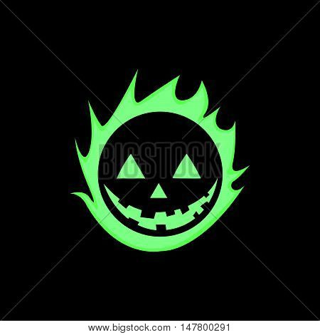 Simple and Glowing Green Halloween Pumpkin Skull