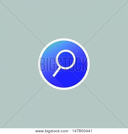 Modern Magnifier Glass or Seach Icon with Long Shadow