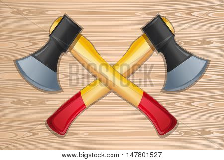 Axes. Two crossed axes on a wooden background. Lumberjack axes crossed. Vector realistic illustration
